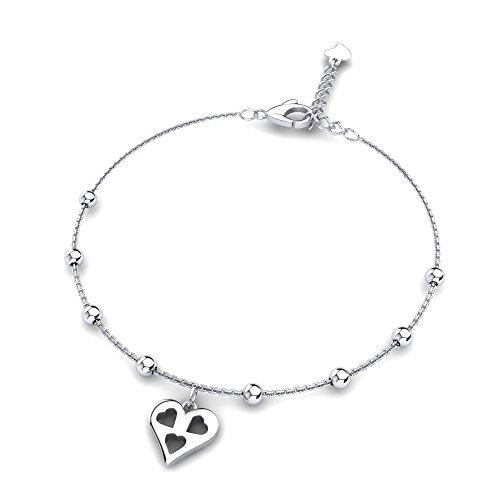 Fußkette-Silber Sterling Champa (25 cm) mit einem Herz-Anhänger - 925 Sterling Silber Fußkette für Damen - Geschenk für Frauen mit - Fußkette mit Anhänger + Luxusetui