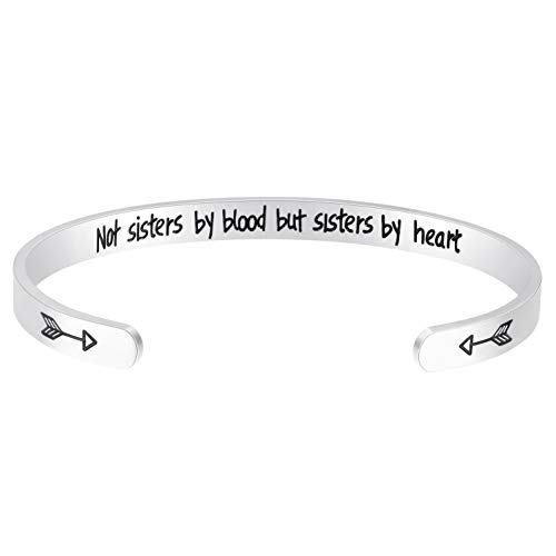 Fesciory Inspirational Bracelets for Women,Stainless Steel Engraved Personalized Positive Mantra Quote Keep Going Cuff Bangle College Graduation Encouragement Gifts for Her (Not Sisters)