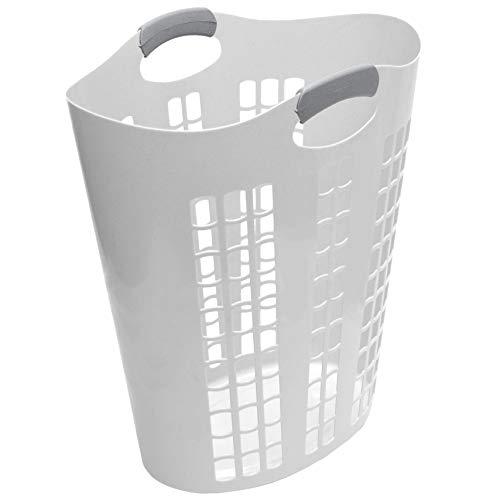 Gracious Living 91786-5C Easy Carry Flex 87.5 Liter Plastic Dirty Clothes Laundry Hamper Basket Bin, Windows, White
