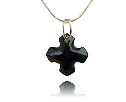 Crystals & Stones - Colgante de cruz con cadena de plata 925 con elementos originales de Swarovski® - Collar con caja de regalo