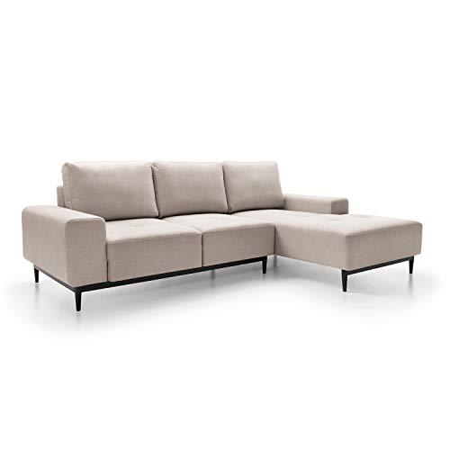 mokebo® Ecksofa aus Webstoff 'Die Leichtfüßige', modernes 3-Sitzer Sofa & Schlafsofa mit Bettkasten, Weboptik in Cremeweiß -8