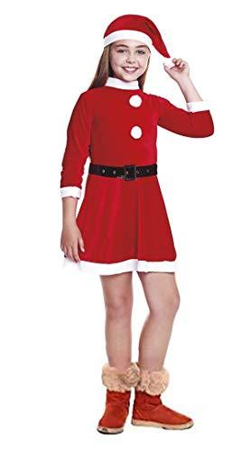 H HANSEL HOME Disfraz Papa Noel Mama Noel Infantil - Nia Vestido para Cosplay/Navidad Size 6-8 aos
