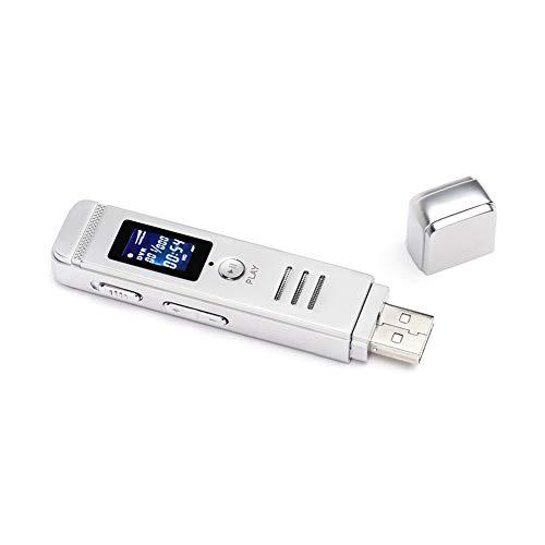 QWER HD 8GB grabadora de Voz Digital multifunción USB Plug Metal Profesional Reproductor de mp3 Reproducción de Audio de grabación Repetidor Pen,Blanco,8GB