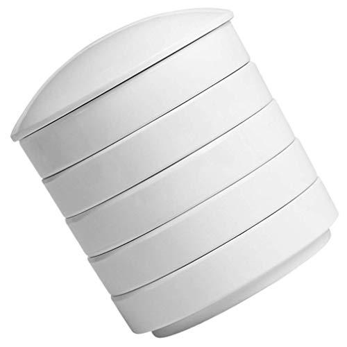 Porcelanowa taca z farbą Zestaw palet akwarelowych Paleta farb do układania w stosy Okrągła paleta farb Danie 5-warstwowe do akwareli Gwasz Akrylowy obraz olejny (biały 1)