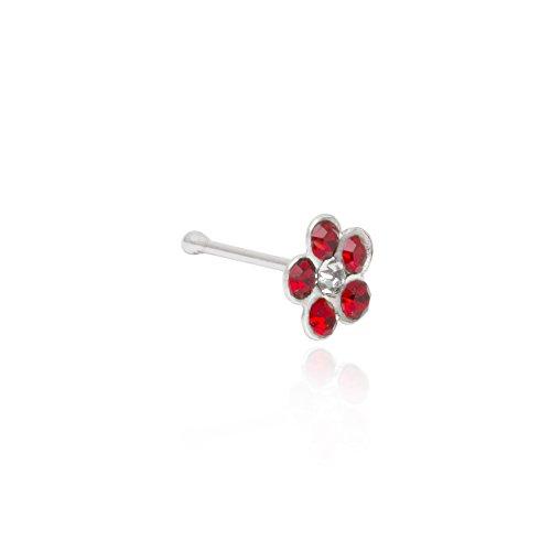 Funkyrox - Juego de 20 pendientes de nariz con flor de cristal para nariz, varios colores y caja de regalo