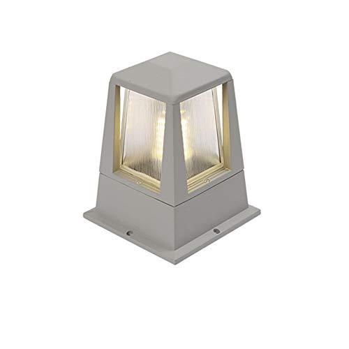 Lampe De Piédestal D'extérieur Argent Gris E27 Lampe De Pilier En Aluminium Et Acrylique Imperméable Villa Clôture Hôtel Jardin Pelouse Jardin Balcon Paysage Borne Lumineuse 19 * 27 Cm