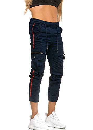 MATKA Damen Frauen Jogging Hose Jogger Streetwear Sporthose Jogg Jeans Bekleidung Chil zuhause Modell 3299 Navy 28