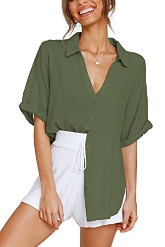 Women's Button Down Shirts Cuffed Short Sleeve Oversized Collared Cotton Linen Blouse T Shirt Army Green M
