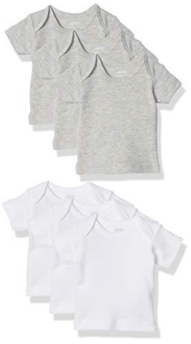 Amazon Essentials - Pack de 6 camisetas con escote americano para niño, Solid White & Heather Grey, Bebé prematuro