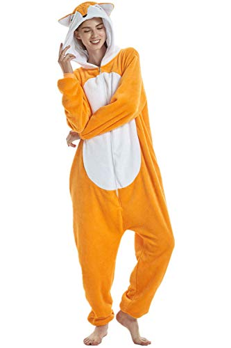 Pyjama Licorne Animaux Unisexe Cosplay Halloween Déguisement Adulte Femme Homme,Renard,S fit for Height 145-155CM (57po-61po)