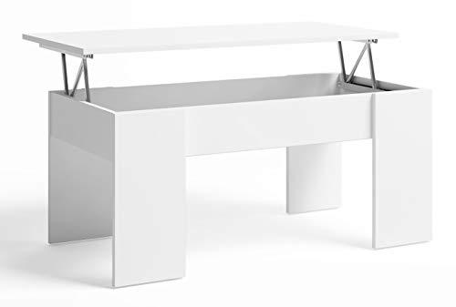 Fabrikit Miroytengo Mesa de Centro elevable Low salón Comedor Color Blanco Mate Estilo Moderno Mueble almacenaje 45x100x50cm