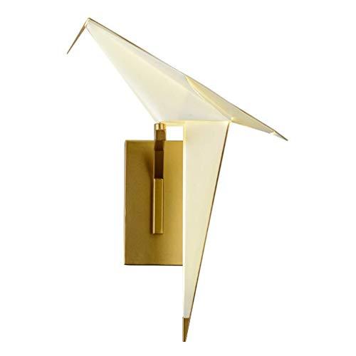 UWY Aplique de Pared Moderno Simple Aplique de una Sola Cabeza Sala de Estar Tema Restaurante Bar de Ocio Dormitorio Personalizado Pájaro Pájaro Lámpara de Pared de Papel Origami Luminaria creat