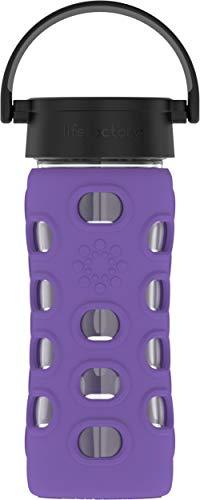 Lifefactory Glas Trinkflasche mit Silikon-Schutzhülle, BPA-frei, auslaufsicher, spülmaschinenfest, 350ml, violett