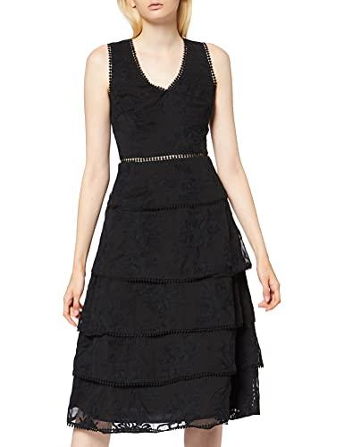 Marchio Amazon - TRUTH & FABLE Vestito Elegante Donna in Pizzo con Balze, Nero (Black), 40, Label:...
