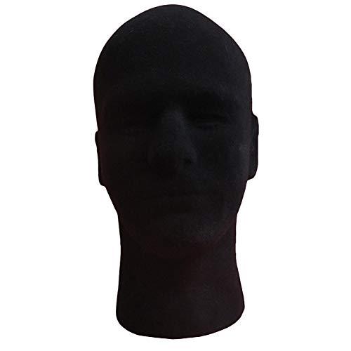 strimusimak Negro molde espuma flocado maniquí modelo pelucas exhibición cabezas soporte para el hogar joyería headwear titular negro
