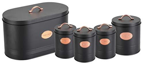 Aufbewahrungsdosen für Tee, Kaffee, Zucker, Kekse und Brot, mit Kupfer-Details, Schwarz, 5 Stück