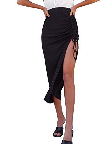 SheIn Women's Drawstring Ruched Side Split Hem Midi Skirt Black Small