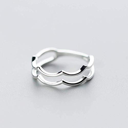 S925 zilveren ring Women'S Koreaanse mode Sweet Wave dubbele ring ring Temperament lijn enkele ring, S925 zilveren ring, USA 8, EEH 7 ZILVER