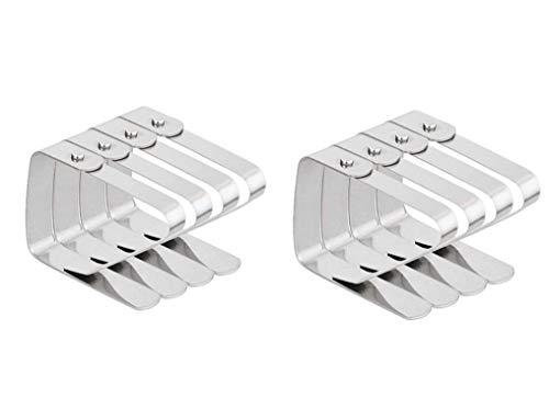 Tischdeckenklammern,Tischtuchklammern 8er Pack Edelstahl Metallklammern Verstellbare Rutschfeste Tischdecke Klammern Clips für Picknicks Zelte Hochzeiten Garten Silber