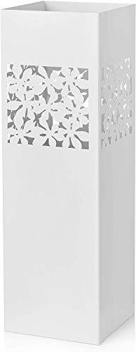 Baroni Home Regenschirmständer, quadratisch, aus Metall, mit rechteckigem Ausschnitt, weiße Blumen, 15,5 x 15,5 x 49 cm, mit Haken und abnehmbarem Regentonne