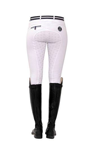 SPOOKS Reithose für Damen Mädchen Kinder, Voll-Grip-Besatz Reithosen Leggings Turnierreithose - bequem & stylisch Lucy Full Grip - White XL
