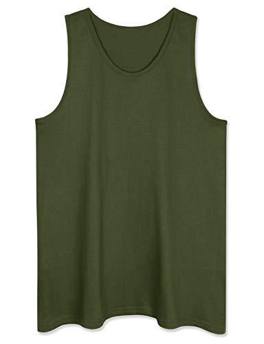 Camiseta de tirantes para hombre de primera calidad, básica, casual, deportiva, para entrenamiento, gimnasio, Verde militar sólido., X-Large