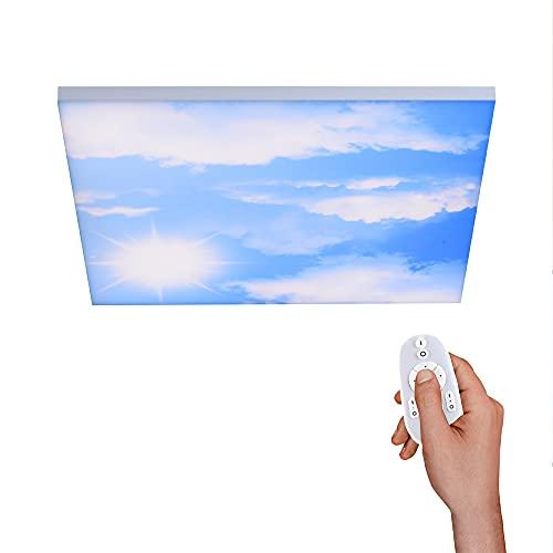 Panel LED blanco 60 x 60 cm, sin marco, diseño de nubes, control de color de la luz