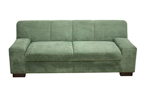 DOMO. collection Norma 3er fest-2er fest, Mikrofaser, grün, 3 (212 x 85 x 74 cm) -2 Sitzer (194 x 85 x 74 cm) -Sessel (101 x 85 x 74 cm)