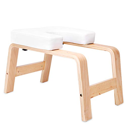 XMIAO Yoga Headstand Bench, Multifunctional Yoga Inversion Chair with Solid Wood Frame,Yoga Headstand Stool Idea for Workout, Fitness and Gym Relieve Fatigue and Body Building (White)