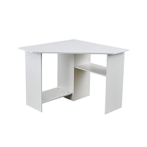 Panana Corner Office Desk Computer Workstation PC Laptop Table with Shelves Home Office White
