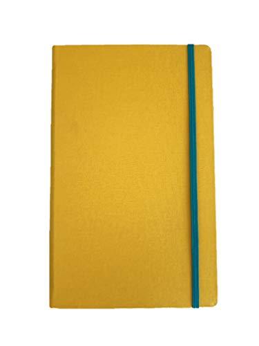 MIO taccuino classico, misura media 13 x 21 cm, pagine 128 bianche carta riciclata con elastico e tasca, copertina rivestita in tela