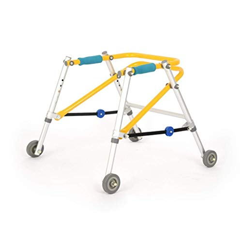 FF - Rodillo de aleación de Aluminio para Caminar con Marco Ligero y Plegable, Equipo de rehabilitación Hemiplegia (Color: Amarillo, tamaño: M) 🔥
