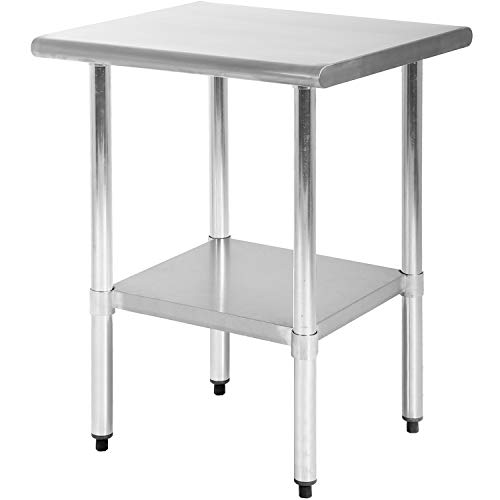 FDW Kitchen Work Table Stainless Steel 24x24 Inch Work Table Heavy Duty Commercial Home Kitchen Work Table