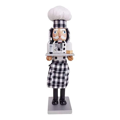 Weihnachten Nussknacker - 38cm Holz Weihnachtskoch Nussknacker mit Champagner Weinglas Figur Anzeige für Weihnachtsdekorationen Home Office Hotel Desktop Puppe Puppenspielzeug Geschenk