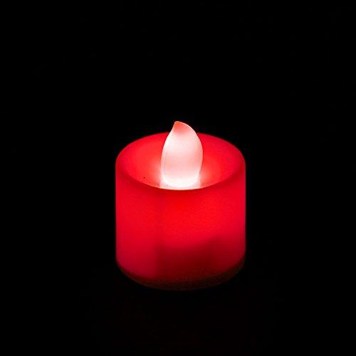 KOFUN LED Candles Tea Lights 24 Packs Flamboyant Flamme Batteries Inclus Idéal Décorations de fête de Noël Rouge