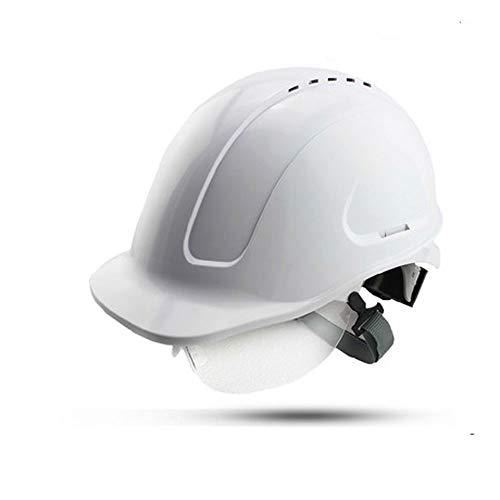 Construcción Casco de Seguridad-ABS Aislamiento de Alto Voltaje Cinturón Gafas/Sitio de construcción Colisión/Electricista / minero Casco de Seguridad (Color : Blanco)