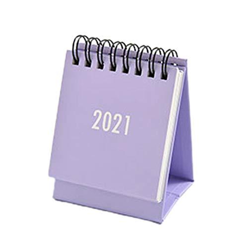 Calendriers Mini Calendrier de bureau 2021 Calendrier de la table Calendrier Accueil Papier de bureau mensuel Planificateur quotidien Calendriers Calendriers de Bureau (Color : Purple)