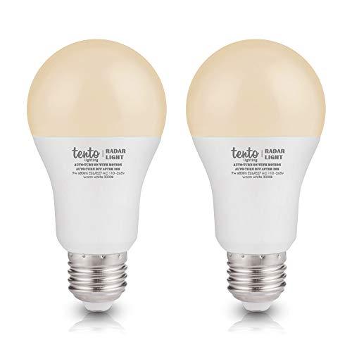 Tento Lighting E26 E27 Medium Edison Base Built-in Radar Motion Sensor Technology Hallway Patio Garage Balcony Night LED Light Bulbs, Warm White, 9w (3000k) (2/Pack)
