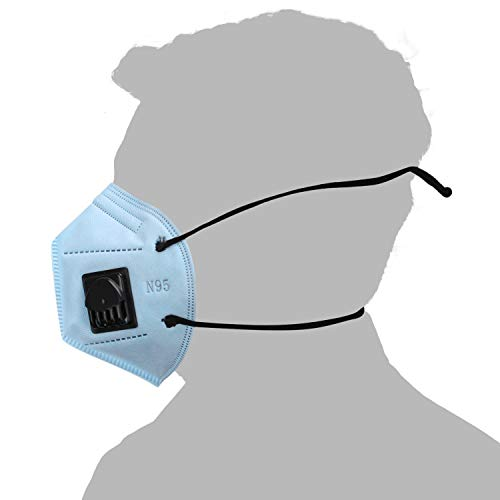 NOVEX Polypropylene N95 Face Mask with Respirator and Long Strap (Skyblue) - Pack of 10