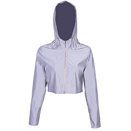 Eghunooye Frauen Sommer Casual Sport Bekleidung Reflektierende 2 Stück Sportjacke Reißverschluss Langarm Crop Top Jacke Mantel und Sport Bodycon Rock Hosen (Jacke A, S)