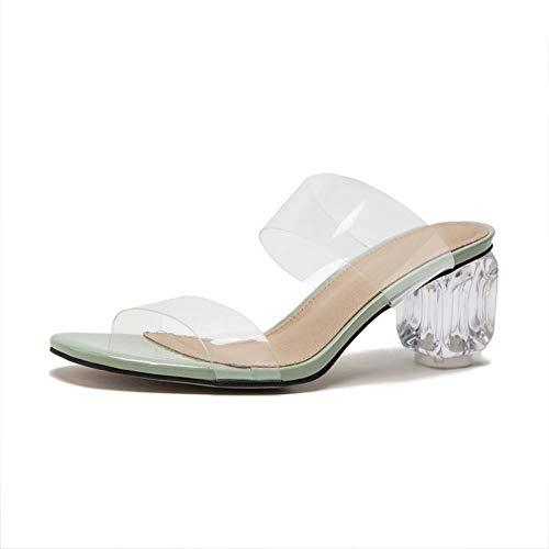 Gasgff Mediados Transparente Zapatos De Moda De Gran Tamaño De Los Deslizadores Talón De Las Mujeres,Verde,36