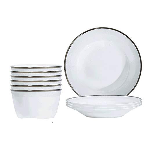 SHYPT Juego de vajillas 10 Piezas Puras de Porcelana Blancas Placas de Cena de Porcelana de China Tazones de vajilla de China Placas de Sopa Servicio de embarcaciones de Salsa para 4