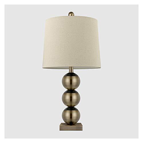 Lámpara de escritorio para sala de oficina Tabla moderna lámparas antiguas de galvanoplastia de bronce Triple Calabaza Lámparas de tabla for el dormitorio sala de estar con lino de la tela de sombra l