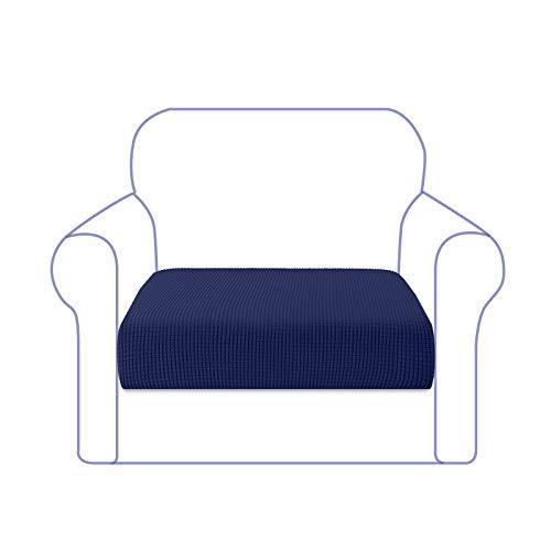Granbest Funda de Cojín de Asiento de Sofá de Alta Elasticidad Funda de Asiento de Sofá Súper Suave Protector de Cojín de Sofá Tela de Jacquard con Fondo Elástico(1 Plaza,Azul Marino)
