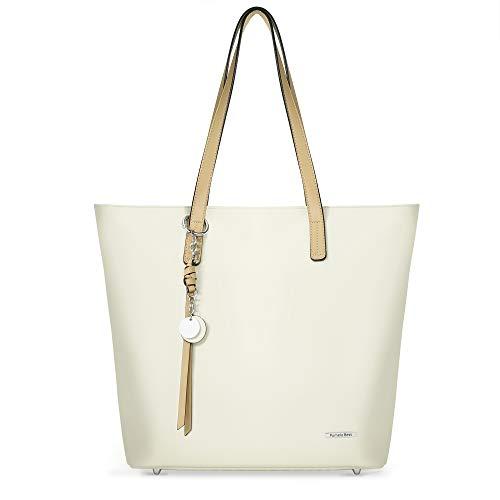 Pomelo Best Handtasche Damen Shopper Groß Damen Tasche für Büro Schule Einkauf (Beige)