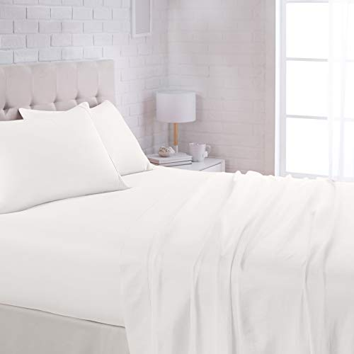 """AmazonBasics Lightweight Super Soft Easy Care Microfiber Sheet Set with 16"""" Deep Pockets - Queen, White"""