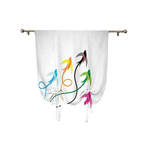 Flying Birds Decor Tie Up Curtain Panels,Group of Colorful Swallow Birds Flying to the Sky Hope Phoenix Courage Wings Graphic Art Thermal Insulated Blackout Curtain,39x47 Inch,for Home Windows Multi