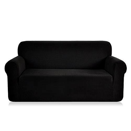 E EBETA Elastisch Sofa Überwürfe Sofabezug, Stretch Sofahusse Sofa Abdeckung Hussen für Sofa, Couch, Sessel 3 Sitzer (Schwarz, 185-235 cm)