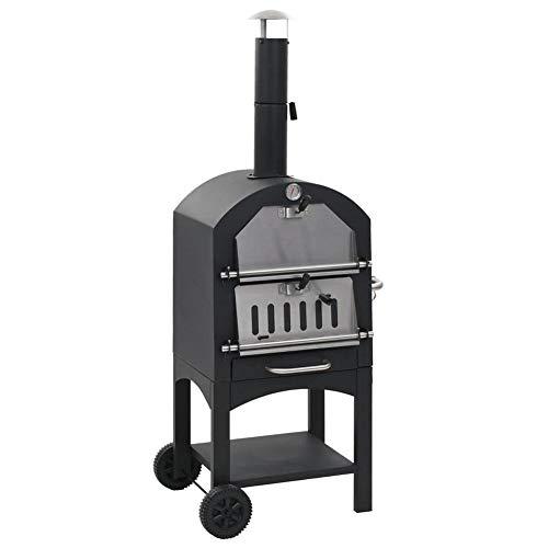 Horno de pizza exterior, equipado con un exfoliante de carbón de madera, piedra de arcilla resistente al fuego, fácil de mover, termómetro integrado, superficie de cocina: 50 x 36,5 cm.