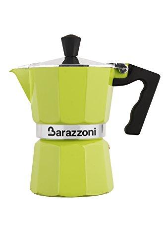 Barazzoni die Kaffeekanne bunt grün 3Tassen. Produkt zertifiziert von der ACCADEMIA Italienische Meister des Kaffee.